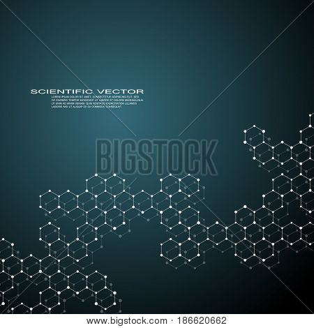 Hexagonal structure molecule dna of neurons system, genetic and chemical compounds, medical or scientific background for banner or flyer, vector illustration.