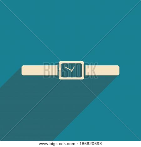Flat with shadow icon and mobile applacation wristwatches