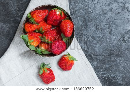 Fresh Red Strawberries In Bowl With Napkin. Summertime Concept, Berries Top View Concept