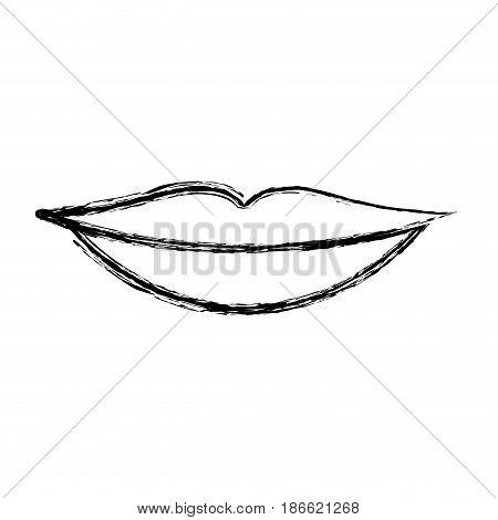 monochrome blurred silhouette of sensual lips vector illustration