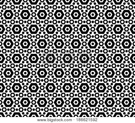 Vector monochrome texture, black & white hexagonal geometric seamless pattern. Contrast abstract background with different sized hexagons, symmetric structure. Design for textile, cover, digital, web