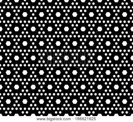 Vector monochrome texture, black & white geometric seamless pattern with different sized hexagons, repeat hexagonal grid. Stylish dark modern geometrical background. Design for prints, fabric, textile, digital