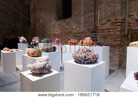 VENICE ITALY - MAY 10: Installation view of the work by Judith Scott at the 57th Venice Biennale on May 10 2017