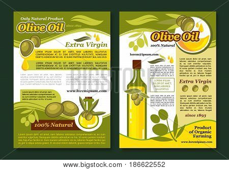 Olive oil natural product poster template. Organic olive oil bottle, olive tree branch with green fruit, leaf and oil drop for healthy vegetarian food, mediterranean cuisine, agriculture themes design
