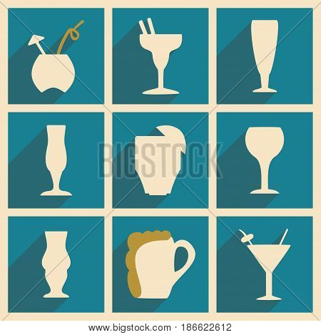 Flat with shadow concept and mobile application cocktail glasses