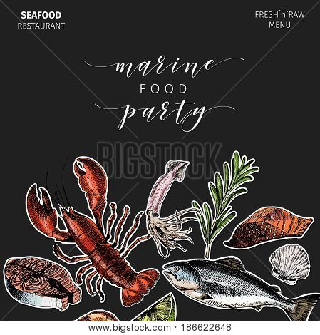 Vector hand drawn seafood banner.colored Lobster salmon crab shrimp octopus squid clams.Engraved art. Sticker style. border template. Delicious menu objects restaurant promotion market store flyer
