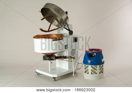 Rivera, Switzerland - 2 April 2009: Industrial gas pot to cook polenta