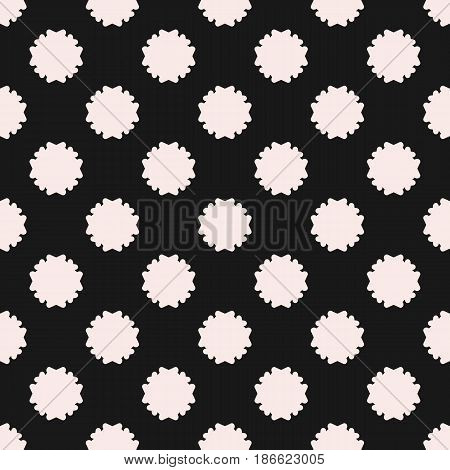 Vector seamless pattern, simple floral geometric texture white staggered flower silhouettes on black background. Abstract backdrop, repeat tiles. Old style design element for prints, decor, textile, fabric, cloth, package