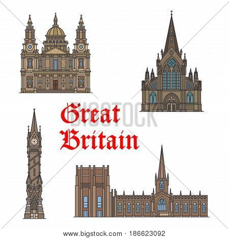 British travel landmark thin line icon set with architecture of England. St Paul Cathedral, Glasgow Cathedral, Haymarket Memorial Clock Tower and Sheffield Cathedral Church for travel guide design