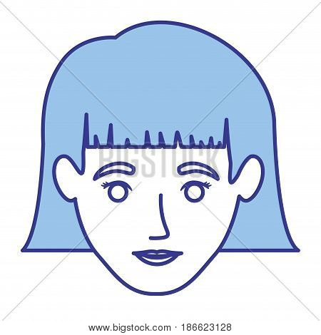 blue silhouette of woman with short hair with bangs vector illustration