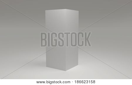 Blank 3d cube on white background. 3d rendering.