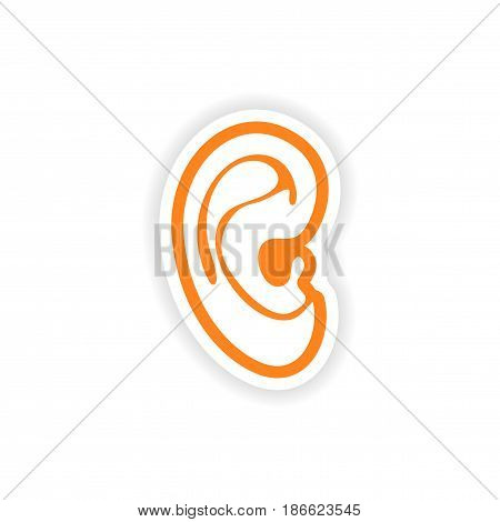 paper sticker on white background human ear