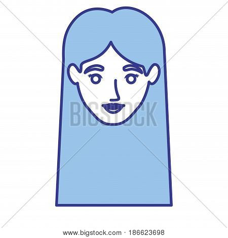 blue silhouette of woman with straight long hair vector illustration