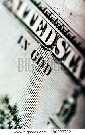 Macro photograph a close up detail of 100 dollar bill