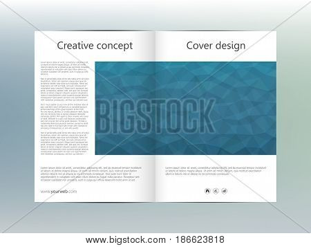 Brochure template layout, flyer, cover, annual report magazine in A4 size. Triangular shape. Geometric abstract background. Vector illustration.