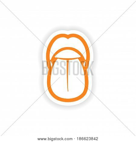 paper sticker on white background mouth and tongue
