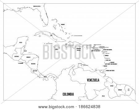 Central America and Carribean states political map. Black outline borders with black country names labels. Simple flat vector illustration.