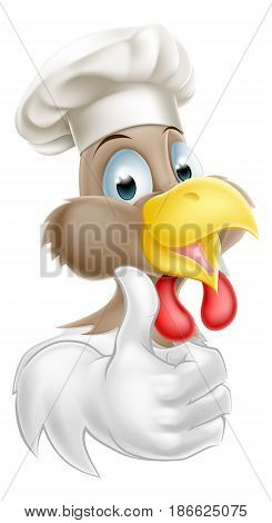 A cartoon chicken mascot wearing a chef hat and giving a thumbs up