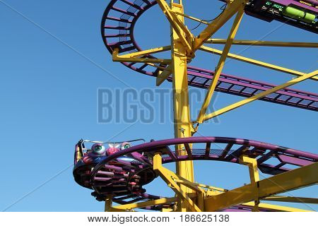 A Carriage on a High Ride at a Fun Fair Amusement Park.