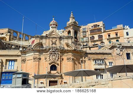 VALLETTA, MALTA - MARCH 30, 2017 - View of Ta Liesse Church Valletta Malta Europe, March 30, 2017.