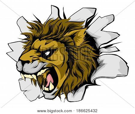 An illustration of a roaring lion head bursting through a wall
