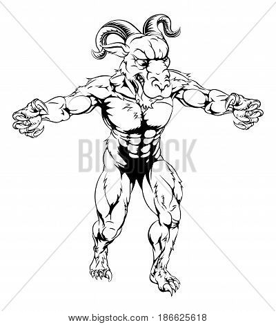 Ram sports mascot character in black and white standing with claws out