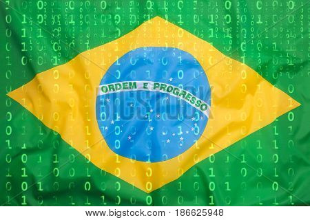 Binary Code With Brazil Flag, Data Protection Concept