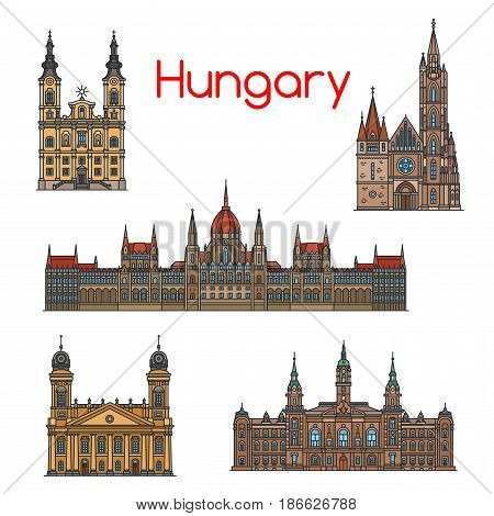 Hungarian travel landmark of historical buildings thin line icon set. Hungarian Parliament Building, Matthias Church, Reformed Great Church, Roman Catholic Mindszent Church, Town Hall of Gyor