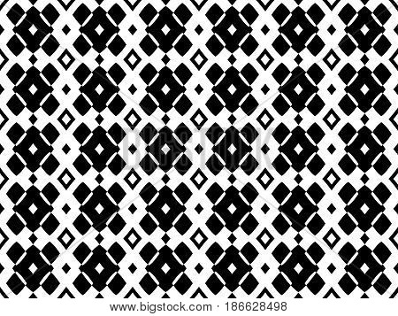 Black & white geometric seamless pattern, stylish monochrome texture. Simple geometrical shapes, original abstract background, repeat tiles. Design element for decor, textile, prints, furniture