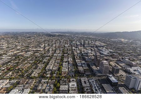 Aerial view of Glendale California with downtown Los Angeles in background.
