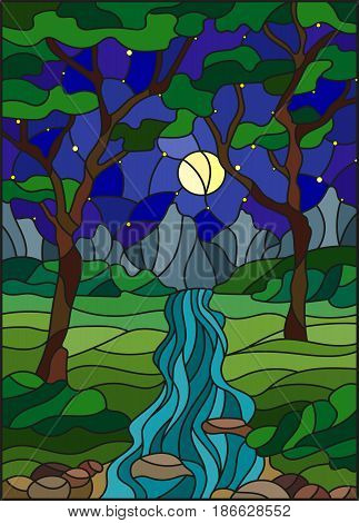 Illustration in stained glass style with a rocky Creek in the background of the starry sky mountains trees and fields