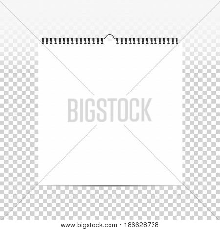Realistic sheets of paper with spiral on a isolated transparent background. Blank square calendar mock up. Design of white notebooks horizontal wall calendars cards. Stock vector.