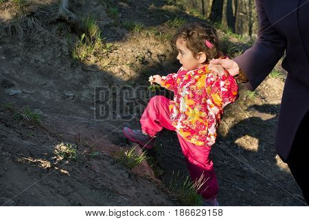 A small child in bright clothes moving through the woods