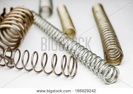Coil Springs On White Background