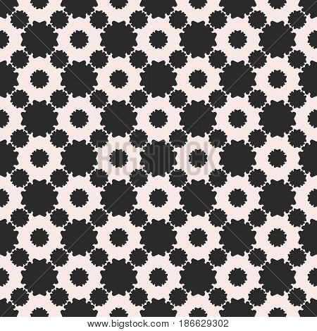 Monochrome ornamental texture, floral seamless pattern, simple black & white vector illustration with flat flowers. Repeat abstract background. Design element for prints, decor, digital, fabric, cloth