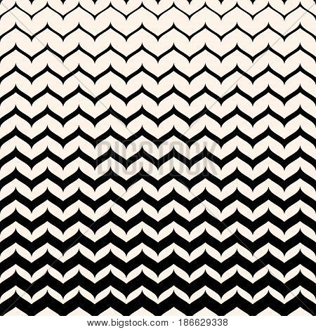 Vector monochrome texture, black & white seamless pattern with curly zigzag lines. Abstract geometric background. Halftone transition effect. Smooth stripes, repeat tiles. Design for decor, covers, digital, web