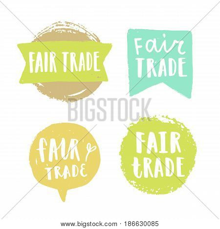 Fair trade hand drawn badges. Vector signs isolated on white.