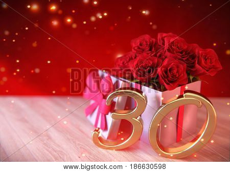 birthday concept with red roses in the gift on wooden desk. thirtieth birthday. 30th