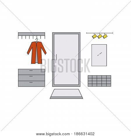 Hallway Line Vector Illustration.