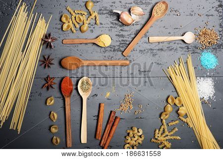Abstract Dry Pasta And Spices Composition