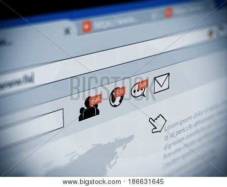 Web Browser With Social Media Notification Icon Illustration