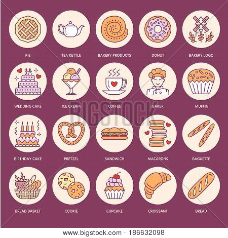 Bakery, confectionery flat line icons. Sweet shop products - cake, croissant, muffin, pastry, cupcake, pie Food thin linear colored signs for bread shop.