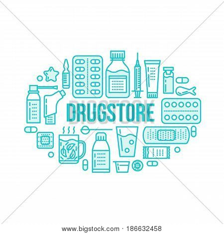 Medical, drugstore banner illustration. Pharmacy vector line icons tablet, capsules, pills, antibiotics, vitamins and other medicines. Healthcare brochure, poster design