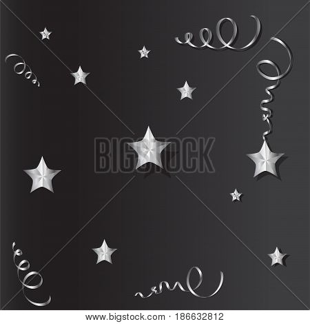 Tinsel and stars set for cards and gift paper. Black and silver.