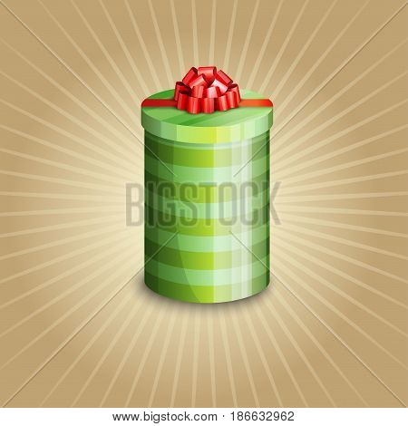 Illustration of a gift box on a on a light striped background