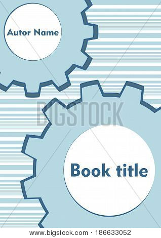 Gear techno background in light blue, two cogwheels with white gap, techno textbook cover, brochure, book cover vector EPS 10