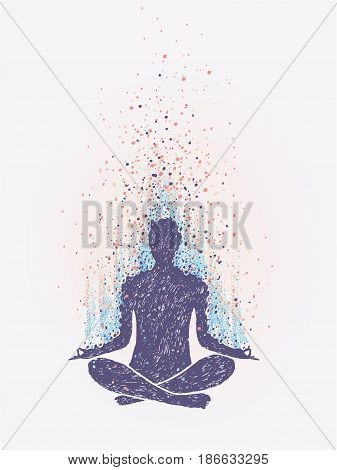 Meditation, enlightenment. Sensation of vibrations. hand drawn colorful illustration
