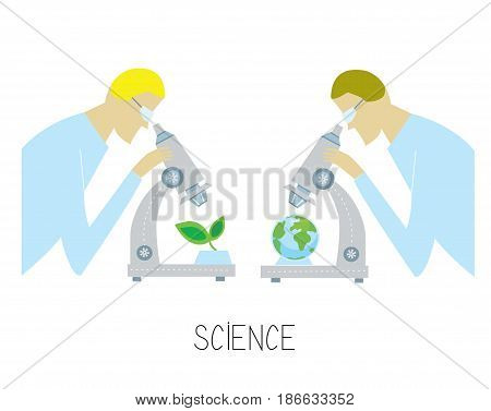 Science concept with researcher and microscope discovering environmental issues. Vector graphic illustration