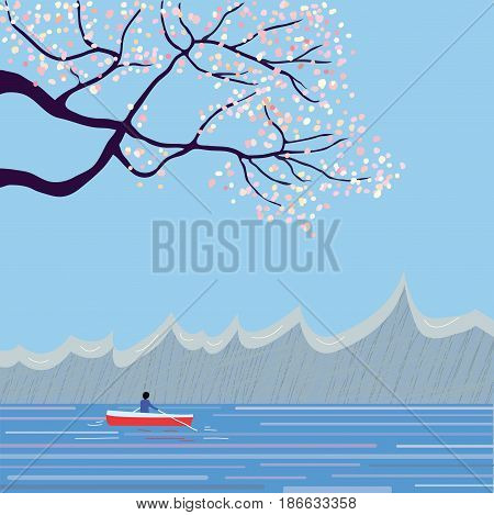 Japanese landscape with sakura and lake for the travel banner vector graphic illustration