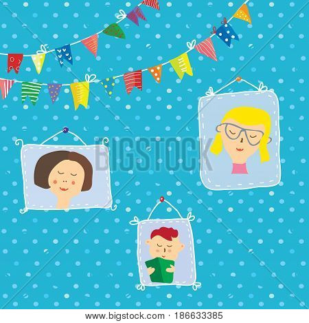 Kids portraits frames on the wall for the holidays with cute design vector graphic illustration
